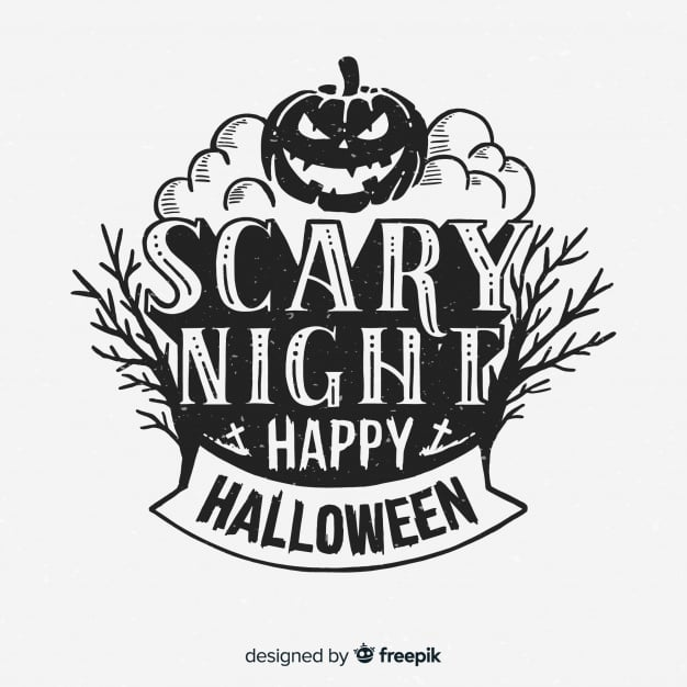 Halloween background design with lettering