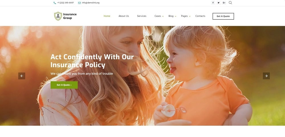 Insurance Group - Sophisticated Insurance Conpany Multipage HTML Website Template