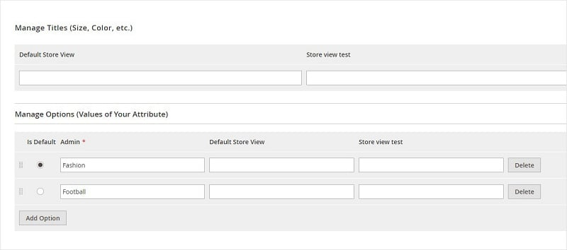Manage Attribute Label and Options