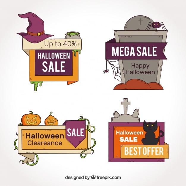 Set of four halloween discount stickers