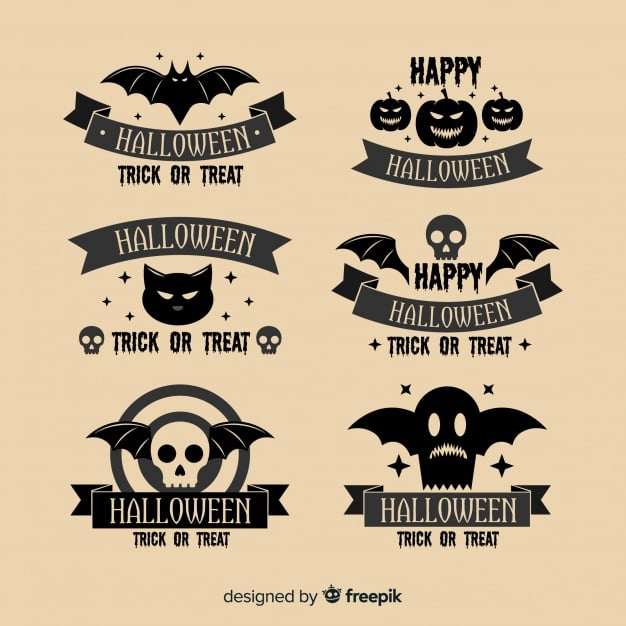 Vintage halloween labels collection