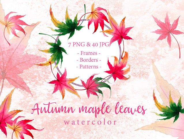Autumn Maple Leaves PNG Watercolor Creative Set Illustration