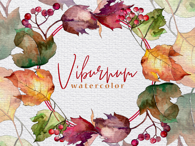 Autumn Viburnum Leaves PNG Watercolor Set Illustration