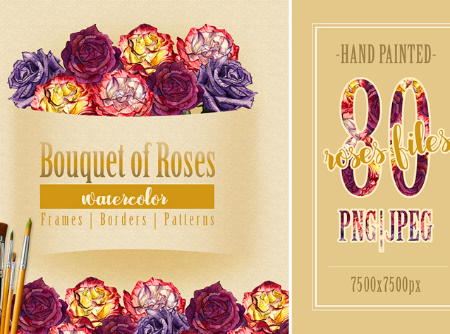 Bouquet of Roses - PNG Watercolor Illustration