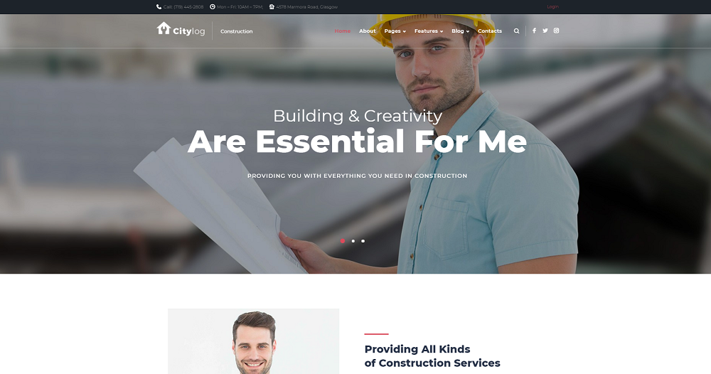 Citylog - Construction Responsive WordPress Theme