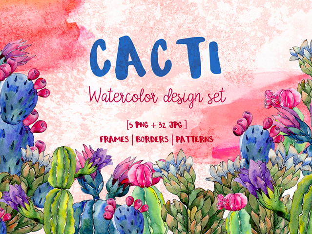 Cool Cacti Tropical flower PNG Watercolor Set Illustration
