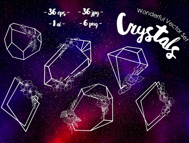 Crystals Wonderful Vector Set Illustration