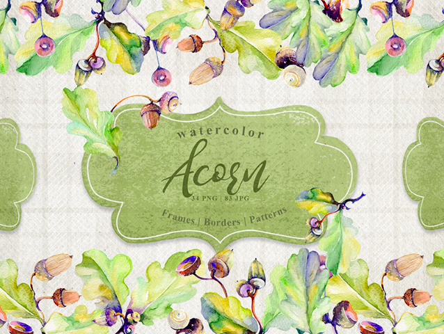 Forest Acorn PNG Watercolor Creative Set Illustration