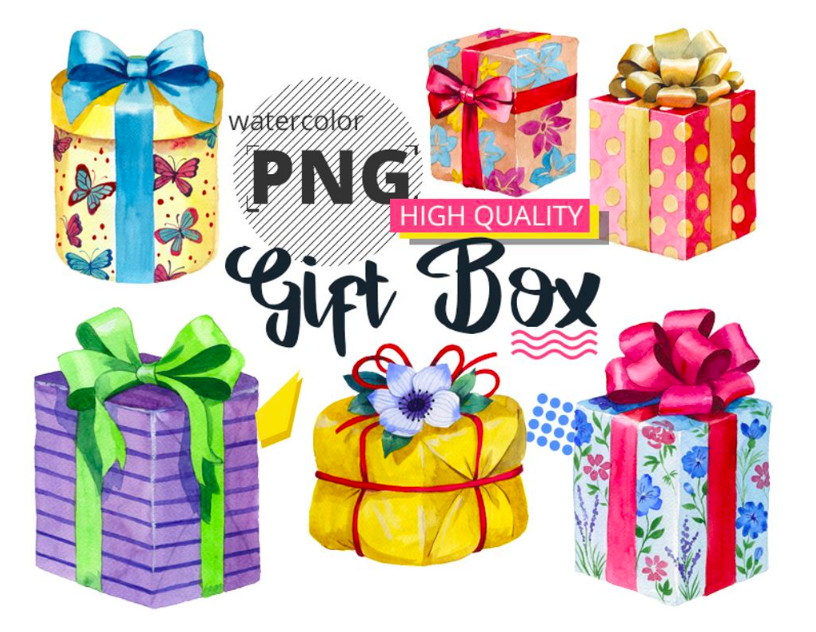 Gift boxes watercolor