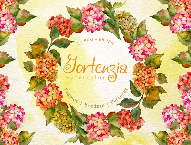 Gortenzia PNG Watercolor Flower Creative Set Illustration