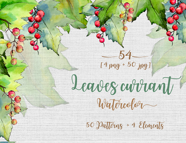 Leaves Currant PNG Watercolor Set Illustration