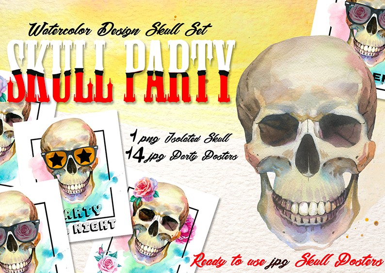 Skull Party Print PNG Watercolor Set Illustration