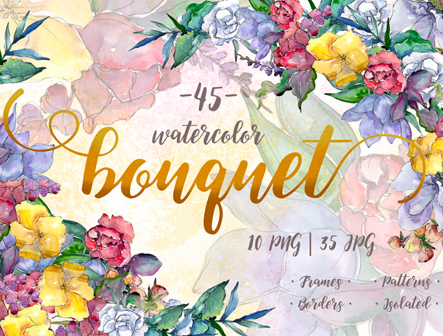 Watercolor Bouquet PNG Flower Set - Illustration