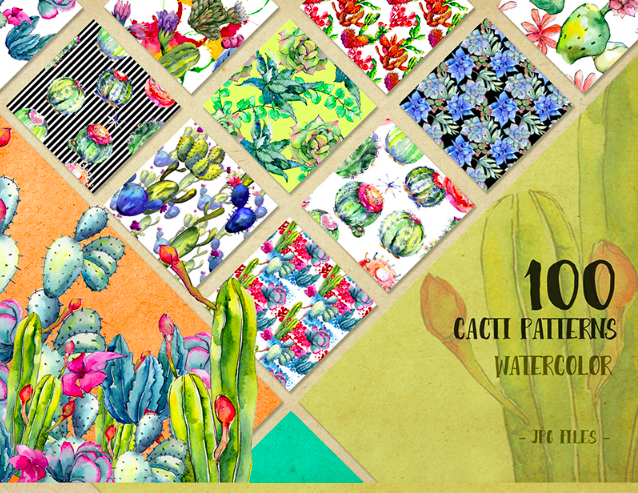Watercolor 100 Cacti Patterns JPG Set Illustration