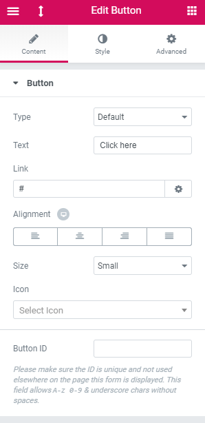 elementor button content menu tab