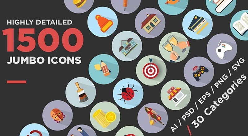 Jumbo Flat Icons Pack Iconset Template