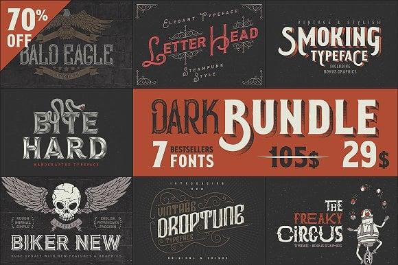 Dark Bundle: 7 Bestseller Fonts Font
