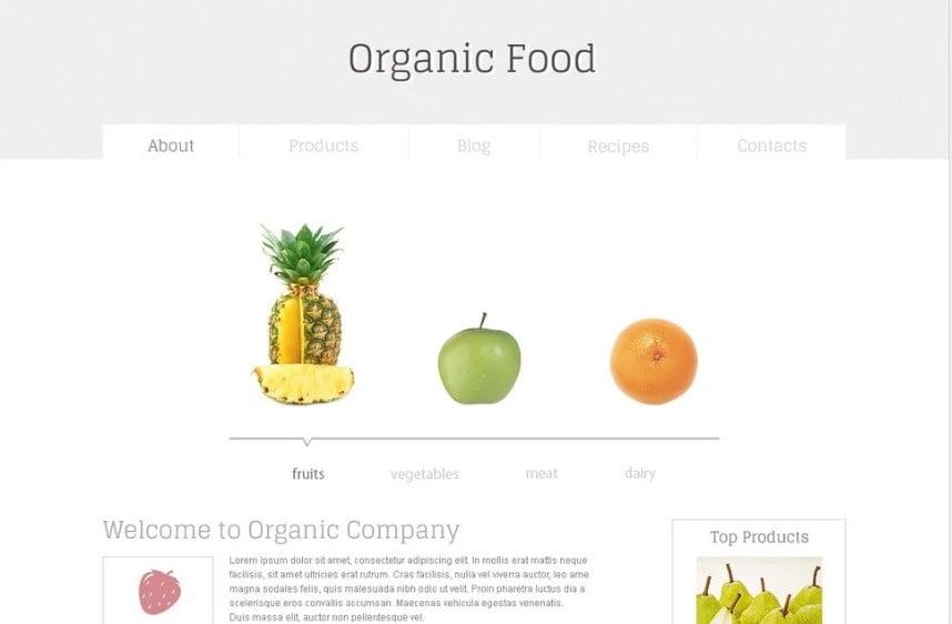Organic Food Free HTML5 Template Website Template