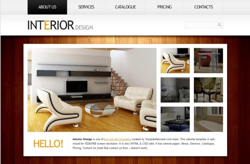Free Website Template Clean Style - Interior Website Template