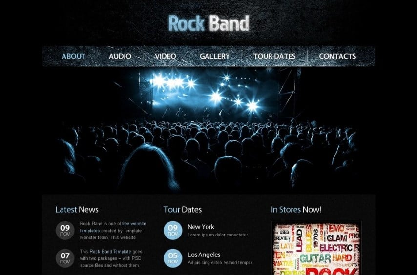 Free Website Template with jQuery Gallery - Music Website Template