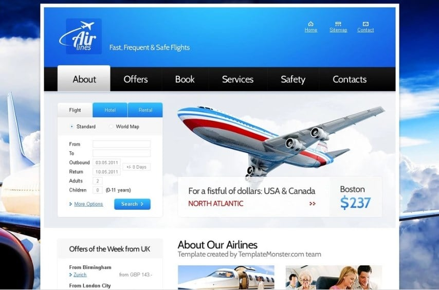Free Website Template for Airlines Company Website Template