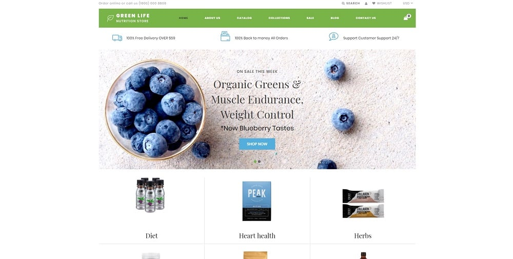 Green Life - Nutrition Responsive Simple Shopify Theme