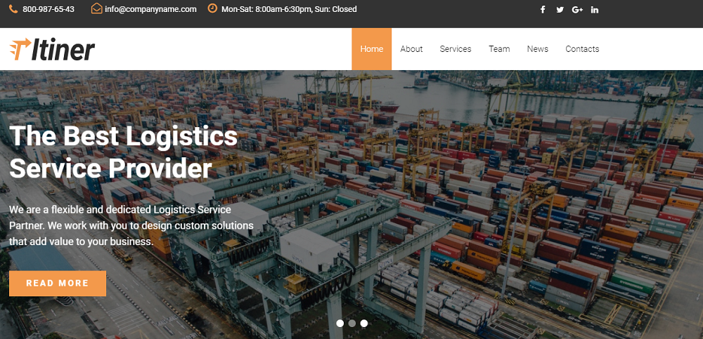 Itiner - Transportation Multipurpose Minimal Elementor WordPress Theme
