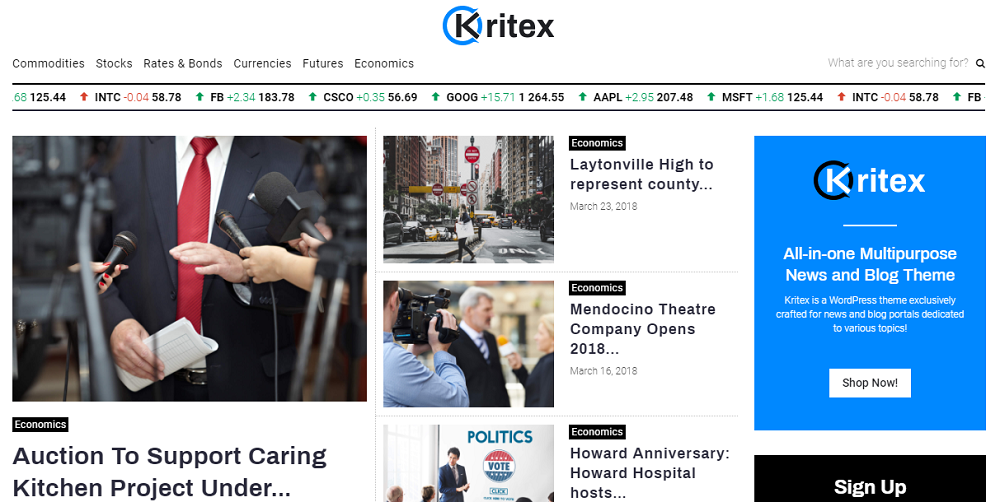 Kritex - Corporate News Blog Modern Elementor WordPress Theme
