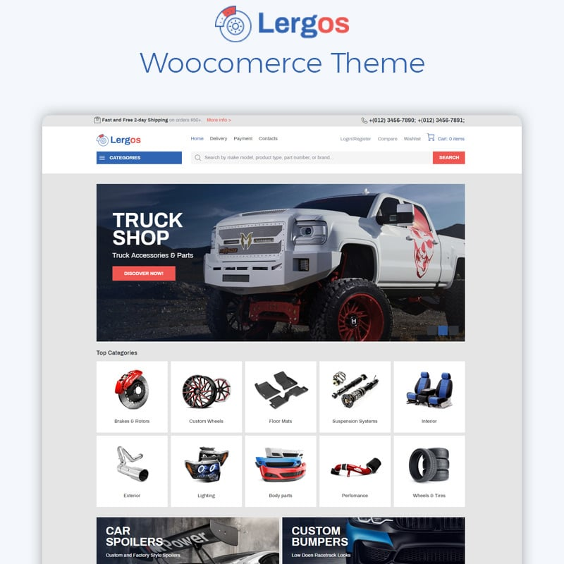 Car Spare Parts ECommerce Classic Elementor WooCommerce Theme