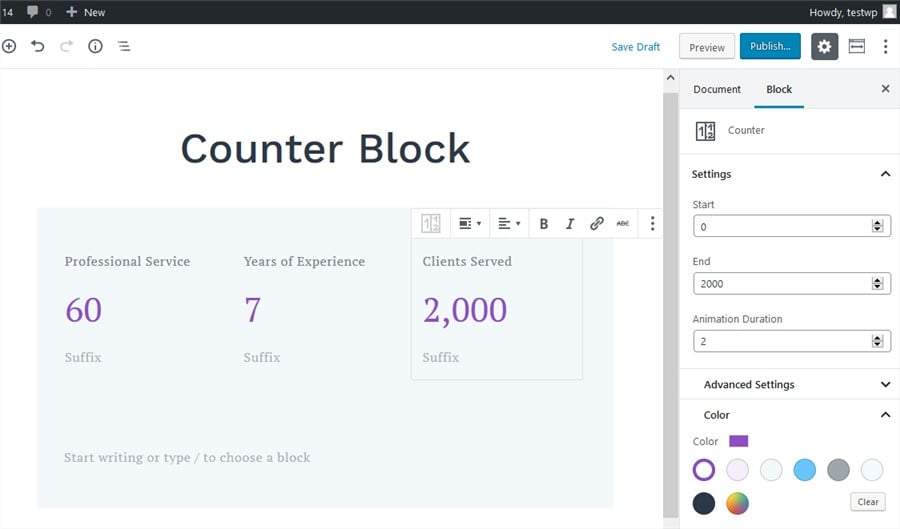 getwid counter block