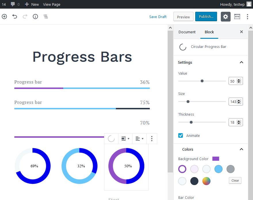 getwid progress bars