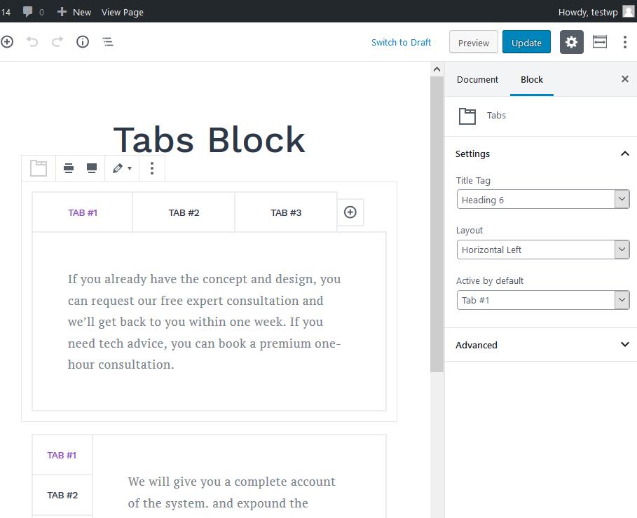 getwid tabs block