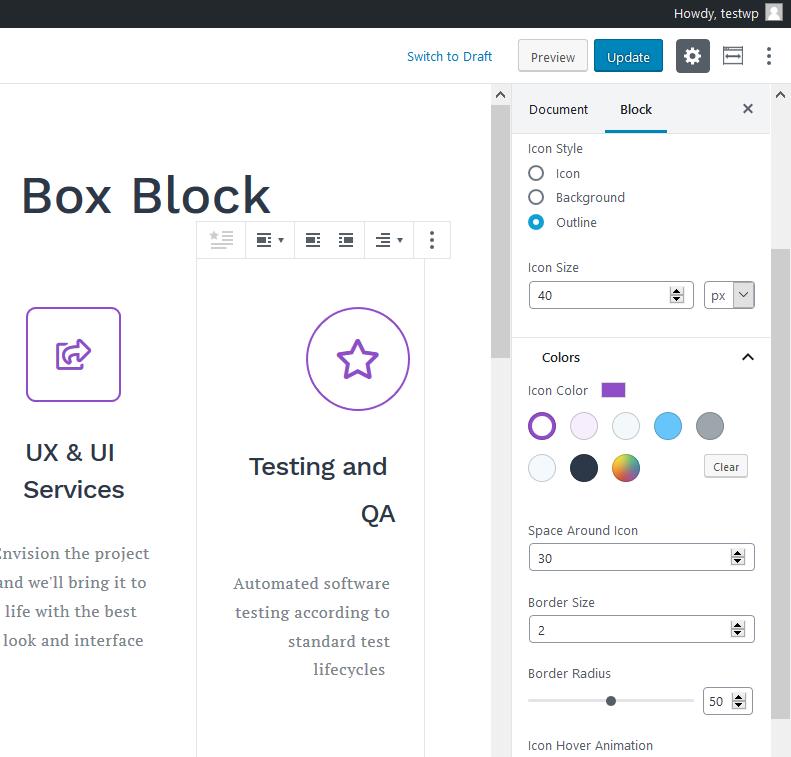 icon box settings