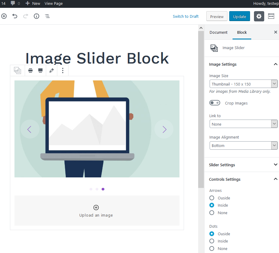 image slider block settings