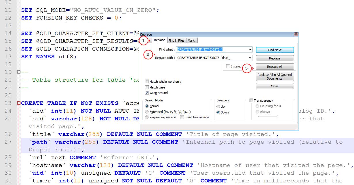 how to change database prefix in phpmyadmin