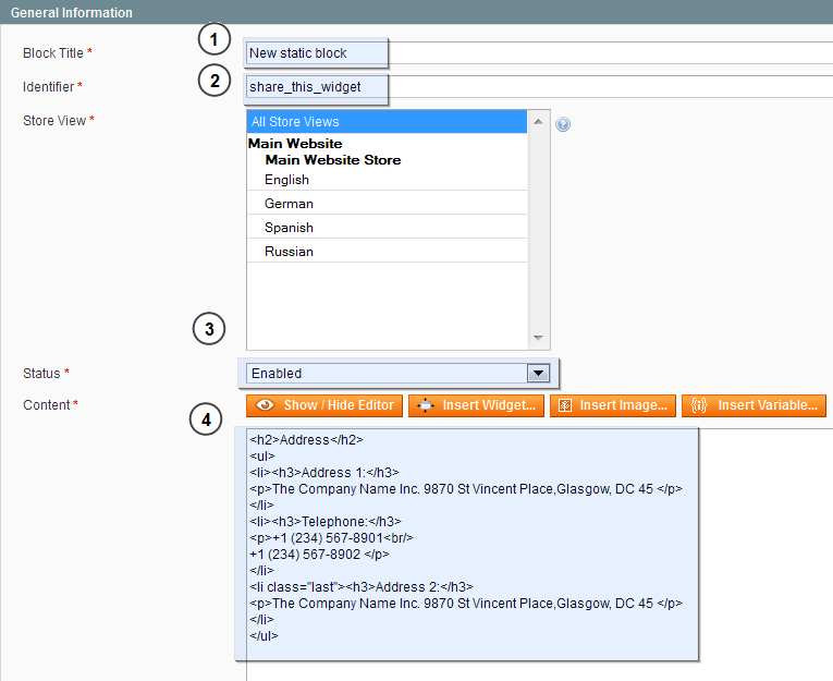 Magento. How to add a static blocks to product details