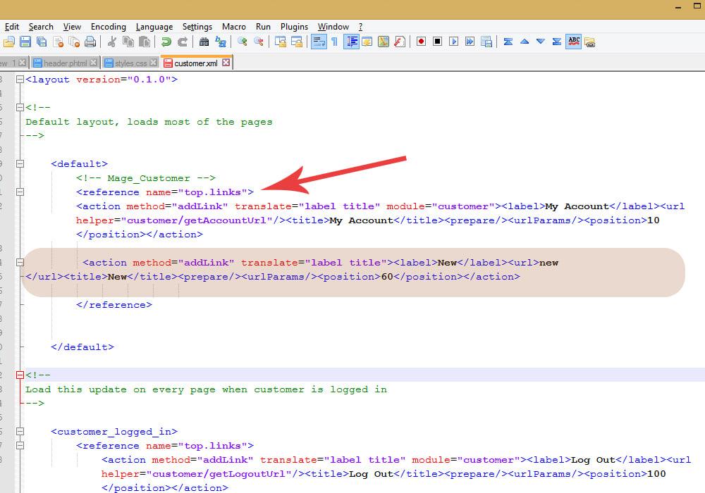 Magento. How to add a custom link to header links