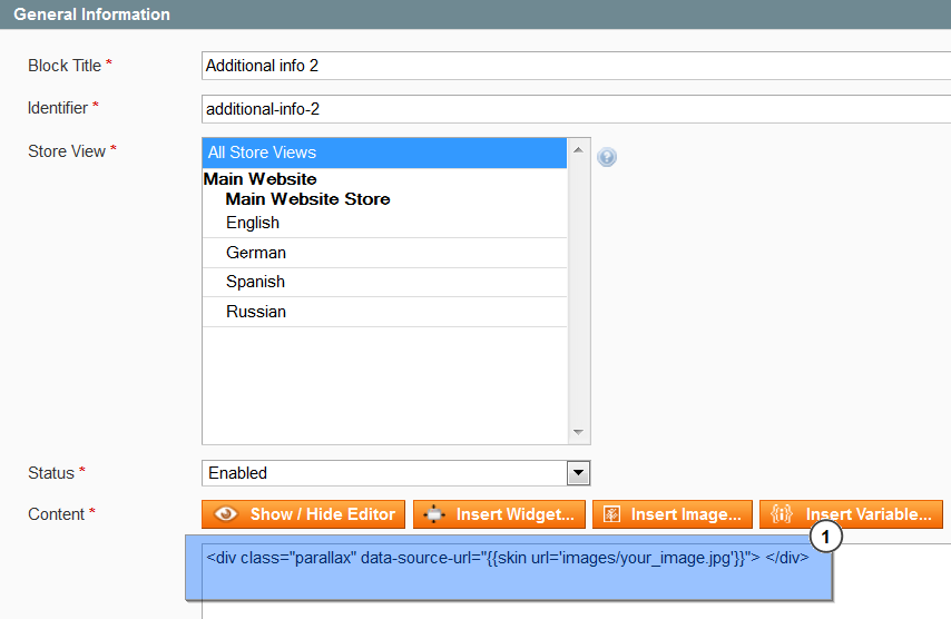 Magento How To Manage Parallax Blocks Template Monster Help