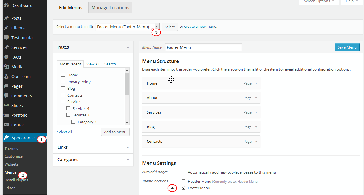 WordPress Cherry 3.x. How to manage footer widgets and footer menu - Template Monster Help