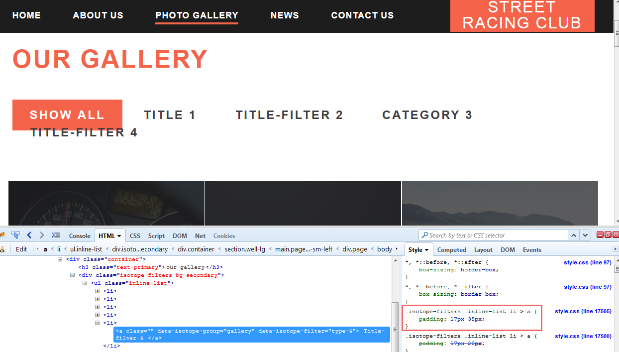 how to add css file in filter