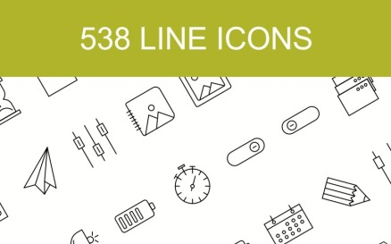 538 Line with 15 Multiple Categories Icon Set
