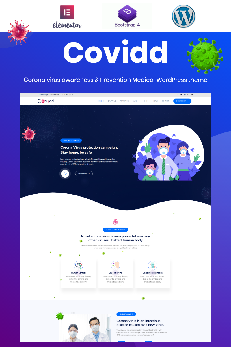Covidd - Corona Virus Prevension and Awarness Elementor WordPress Theme