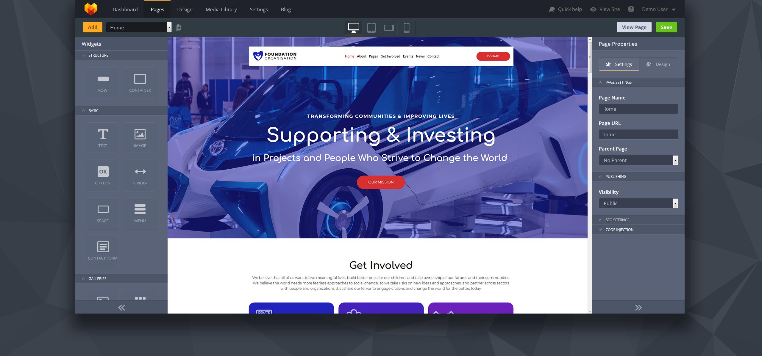 Foundation - Organisation Moto CMS 3 Template