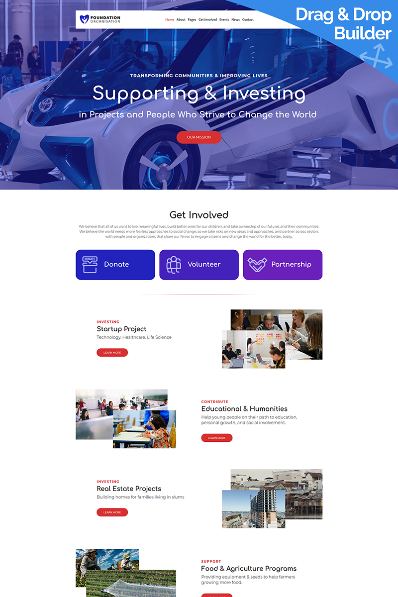 Foundation - Organisation Moto CMS 3 Template