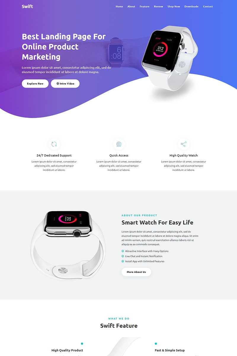 """Landing Page Template namens """"Swift - Product"""" #100023"""