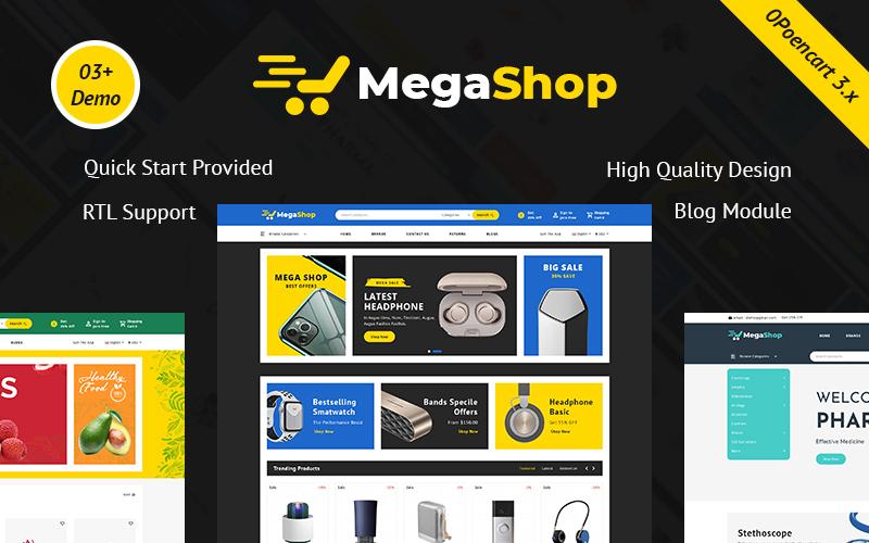 """""""Megashop - Responsive Multipurpose"""" Responsive OpenCart Template №100018"""