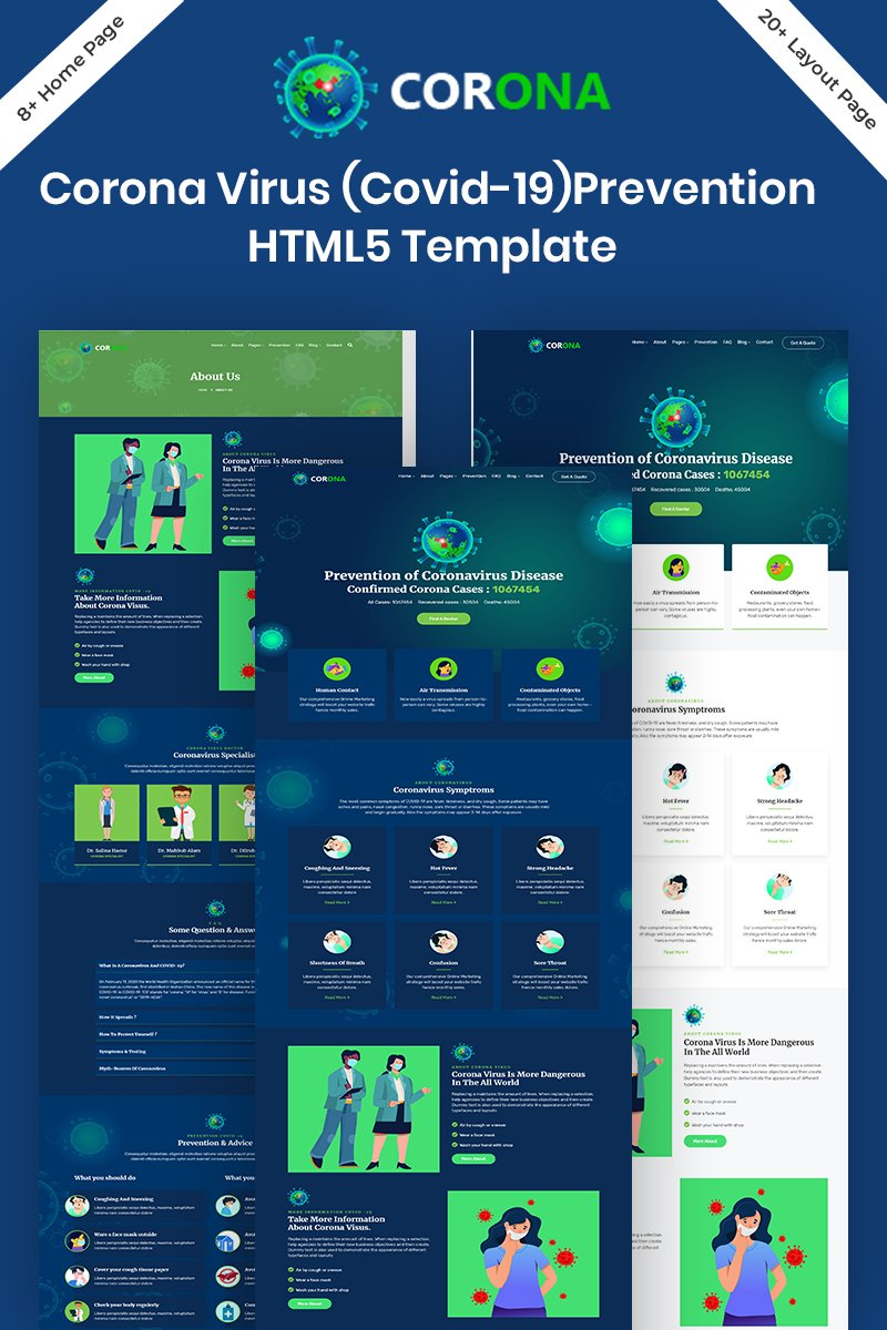Responsywny szablon strony www Corona (Covid-19) Prevention HTML5 Bootstrap #100095