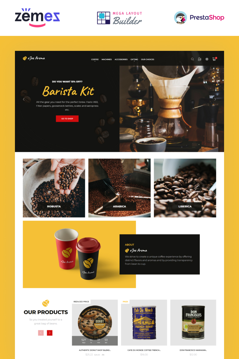 "Tema De PrestaShop ""o`Joe Aroma - Coffee Online Shop Template"" #100042"