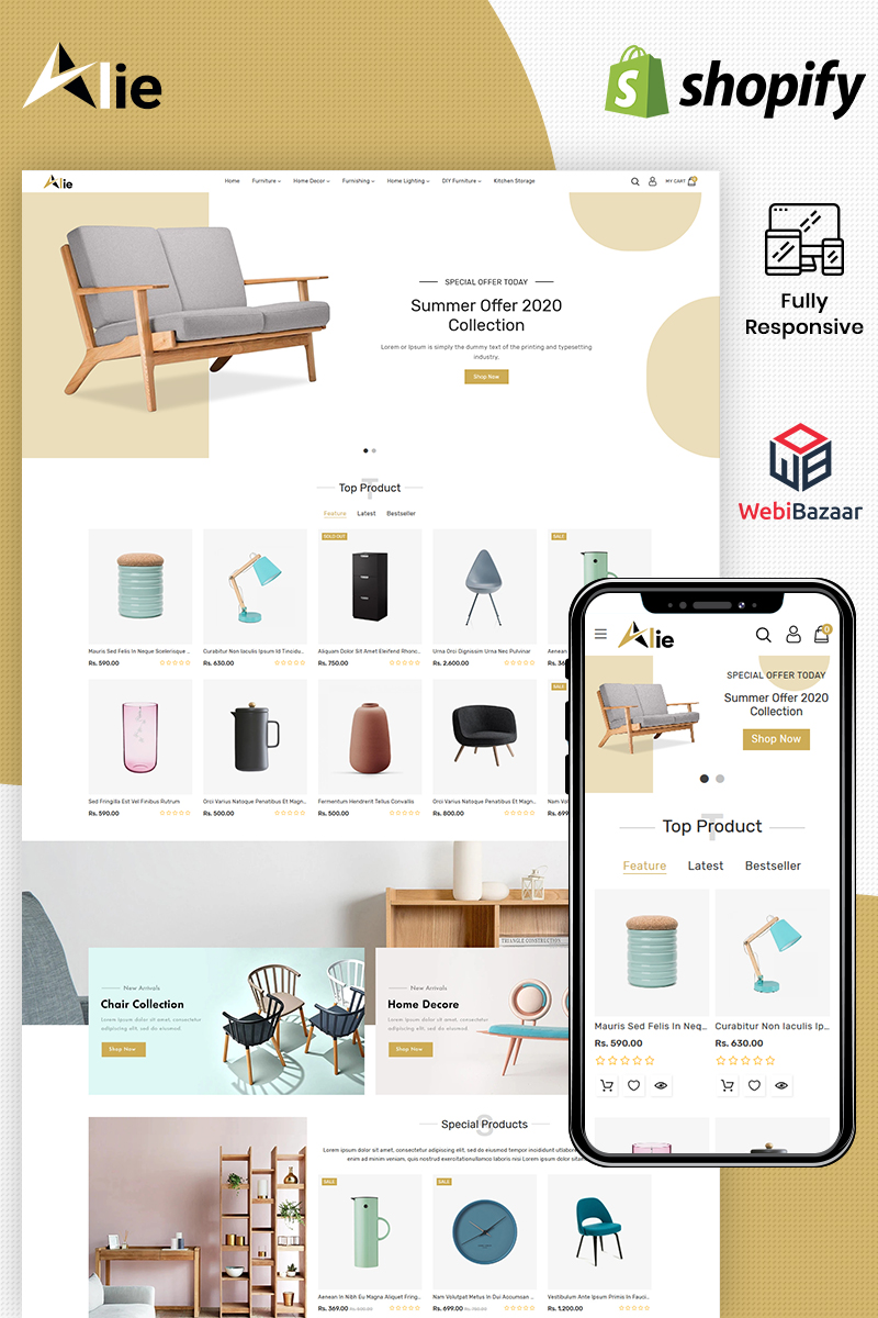"""Template Shopify Responsive #100093 """"Alie - Best Furniture"""""""