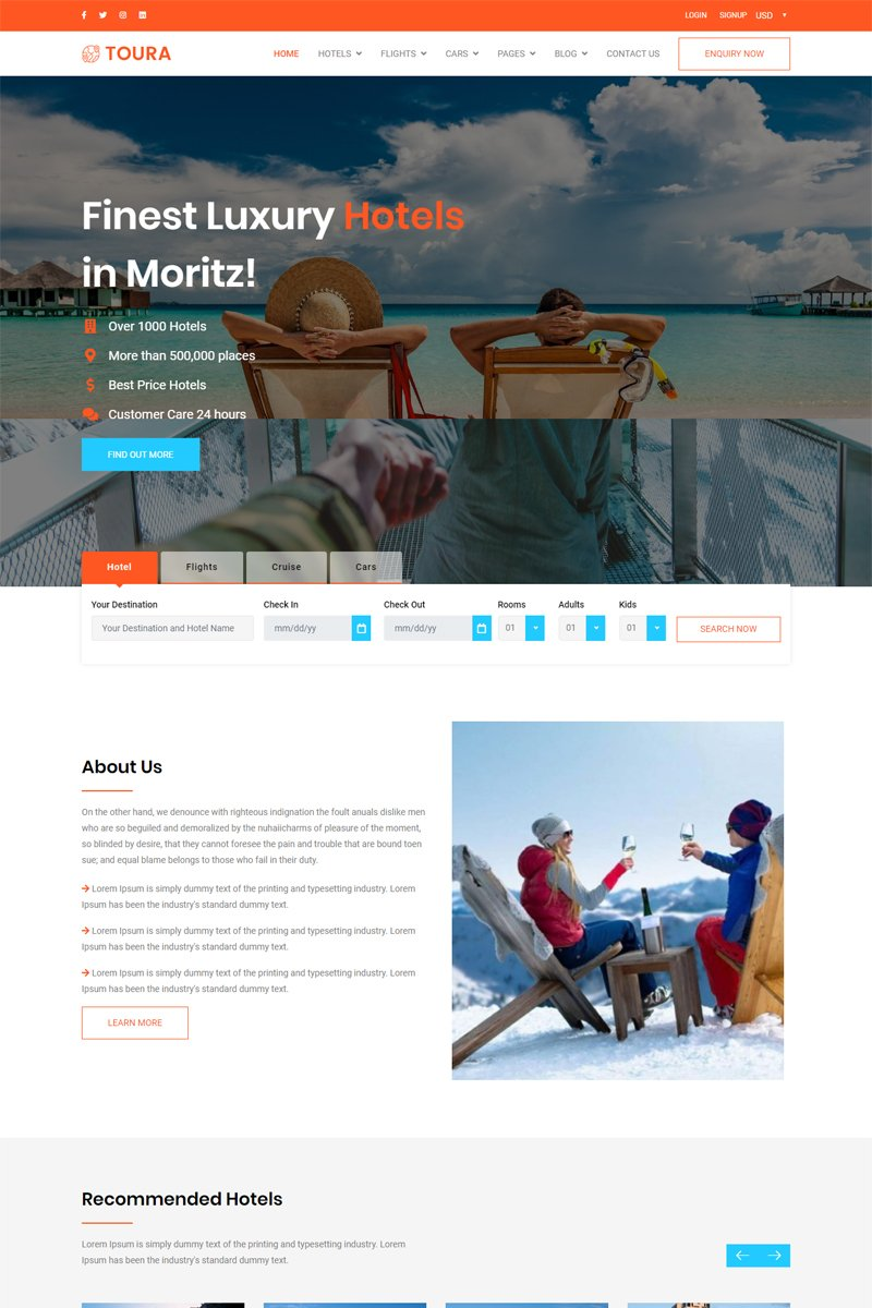 Toura - Travel Agency Booking Responsive Website Template